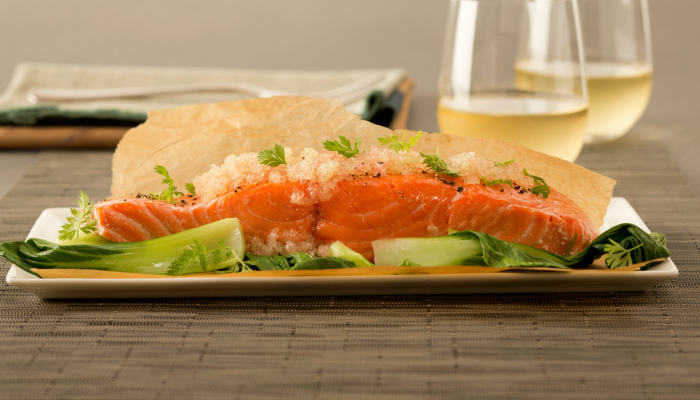 Baked Salmon with Finger Limes
